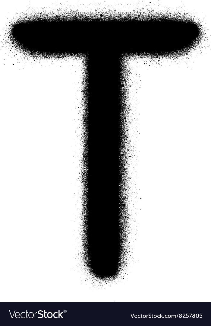 Sprayed T font graffiti in black over white vector image