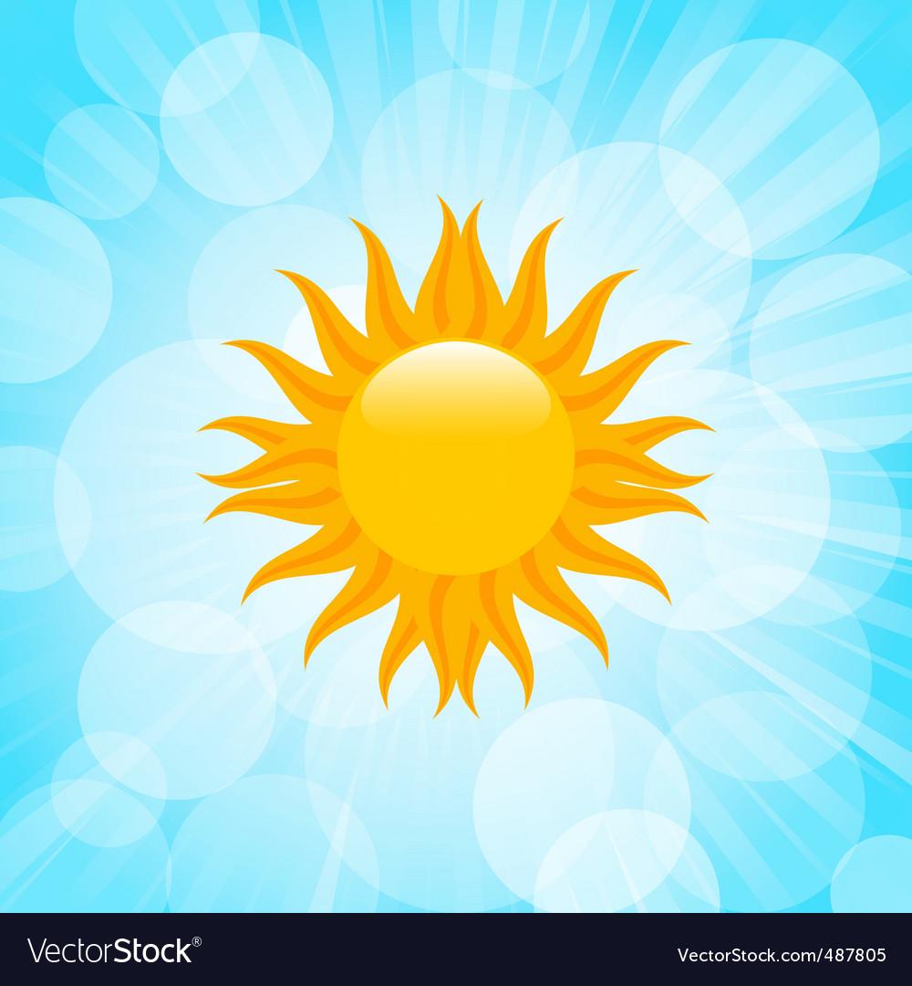 Summer sun in blue sky vector image