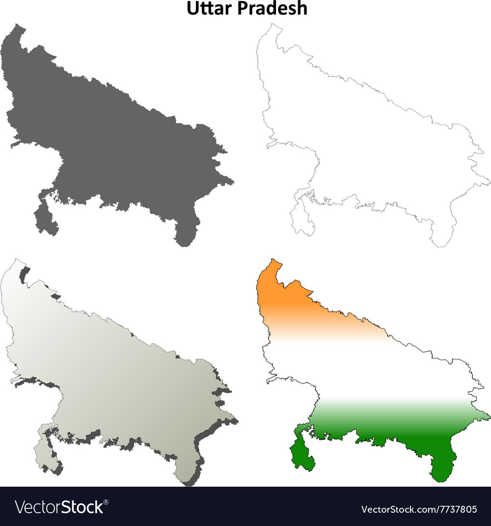 Uttar Pradesh blank outline map set vector image