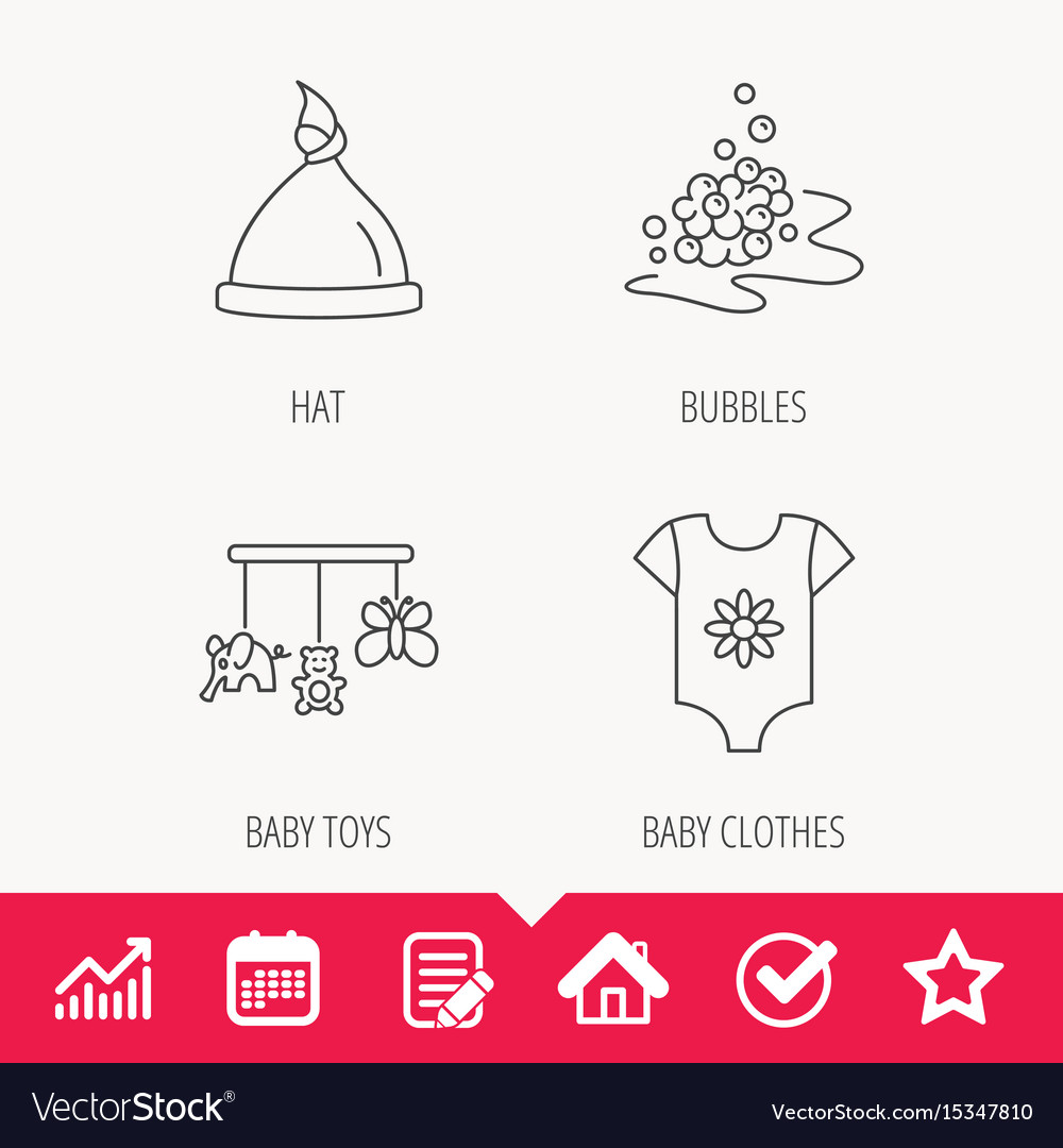 Baby clothes bath bubbles and hat icons