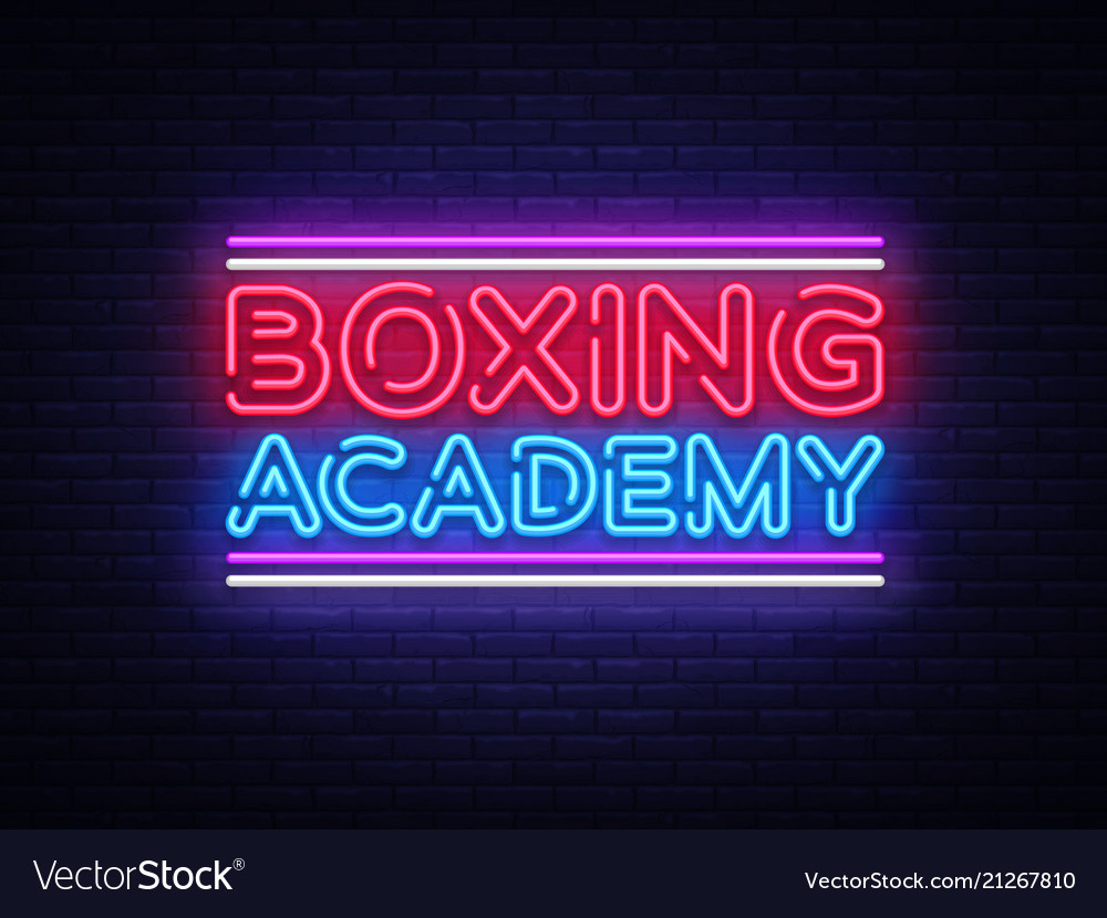 Boxing academy neon signs boxing text