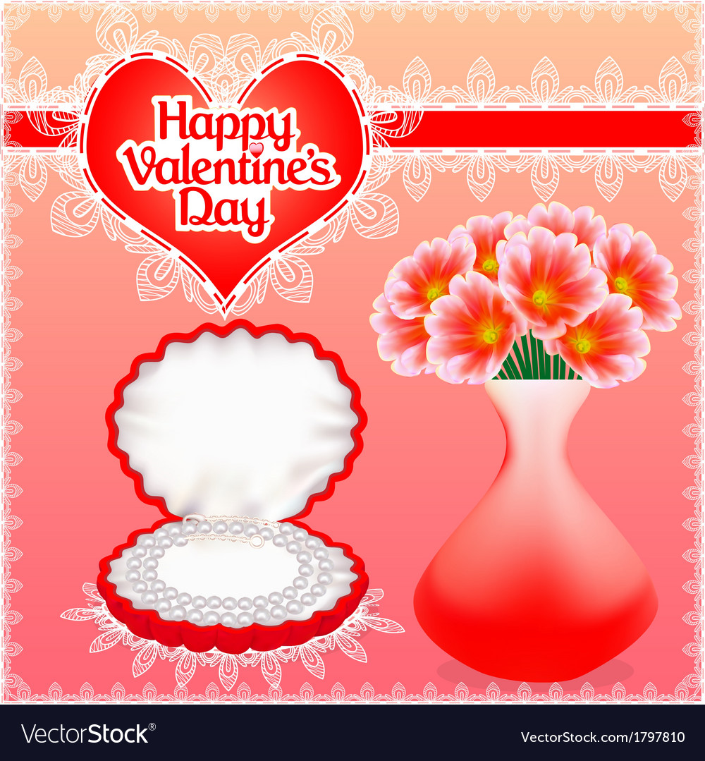 Card with flowers and pearl necklace in a box vector image