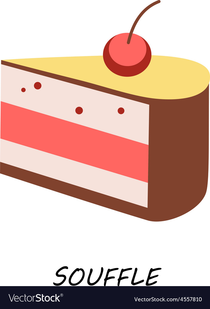 Dessert piece delicious cake with cherry vector image