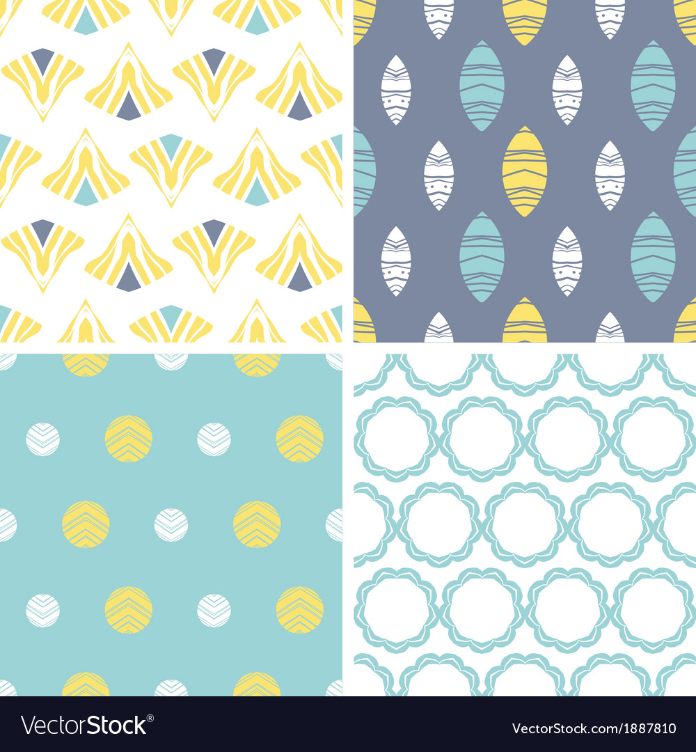 Four abstract fun motives seamless patterns set