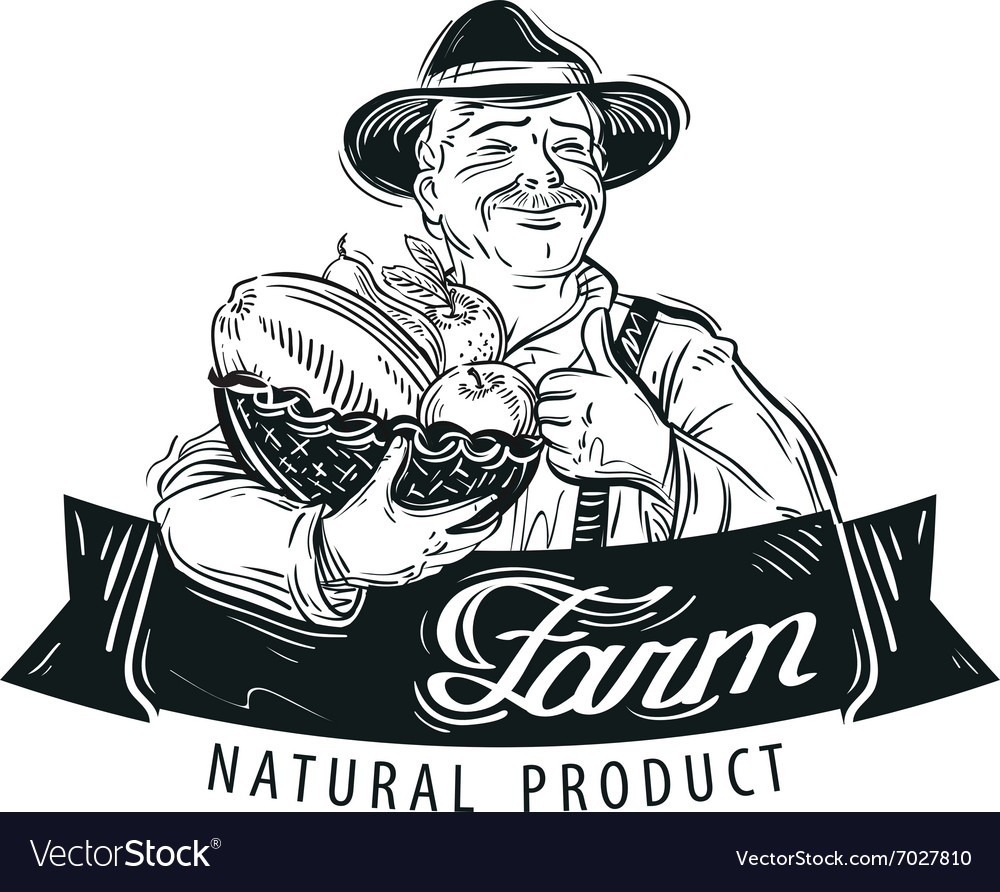 Fresh fruits food logo design template vector image