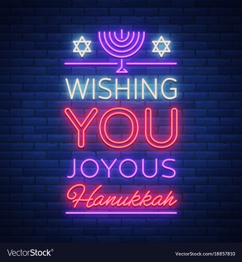 Happy hanukkah a greeting card in a neon style vector image m4hsunfo