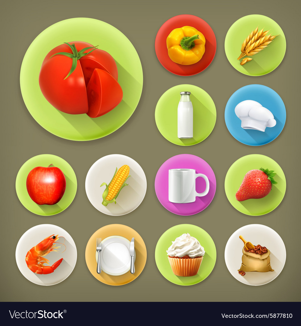 Kitchen and Cooking long shadow icon set