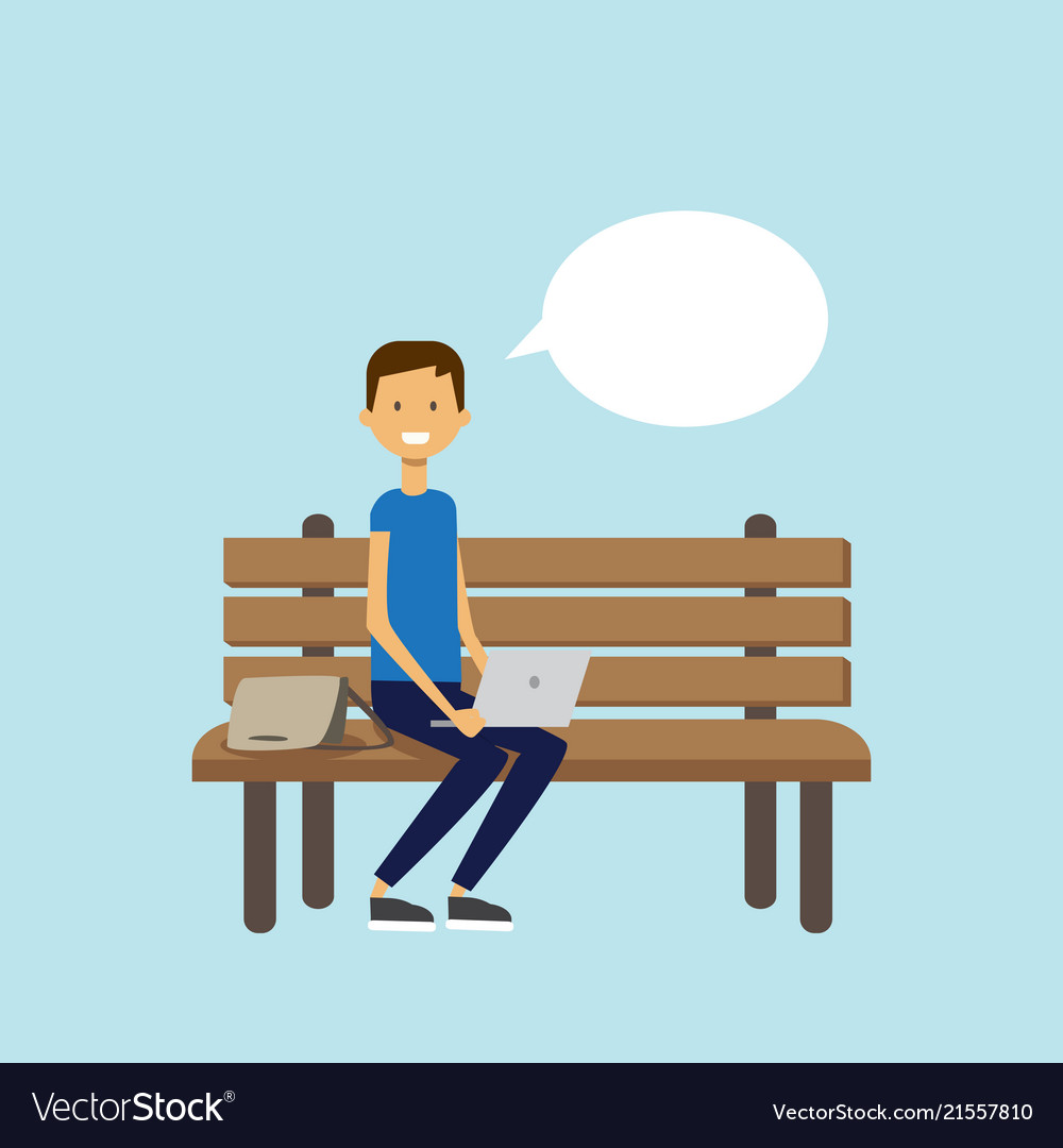 Incredible Man Using Laptop Sitting Wooden Bench Chat Bubble Bralicious Painted Fabric Chair Ideas Braliciousco