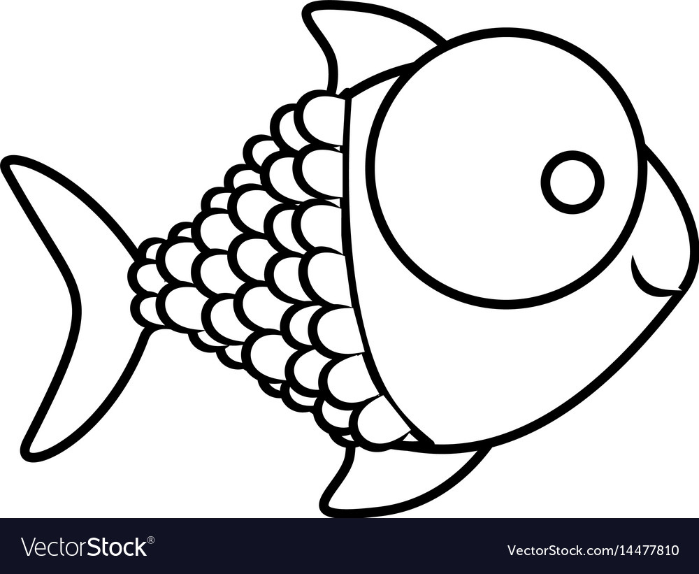Monochrome silhouette of fish with big eye and