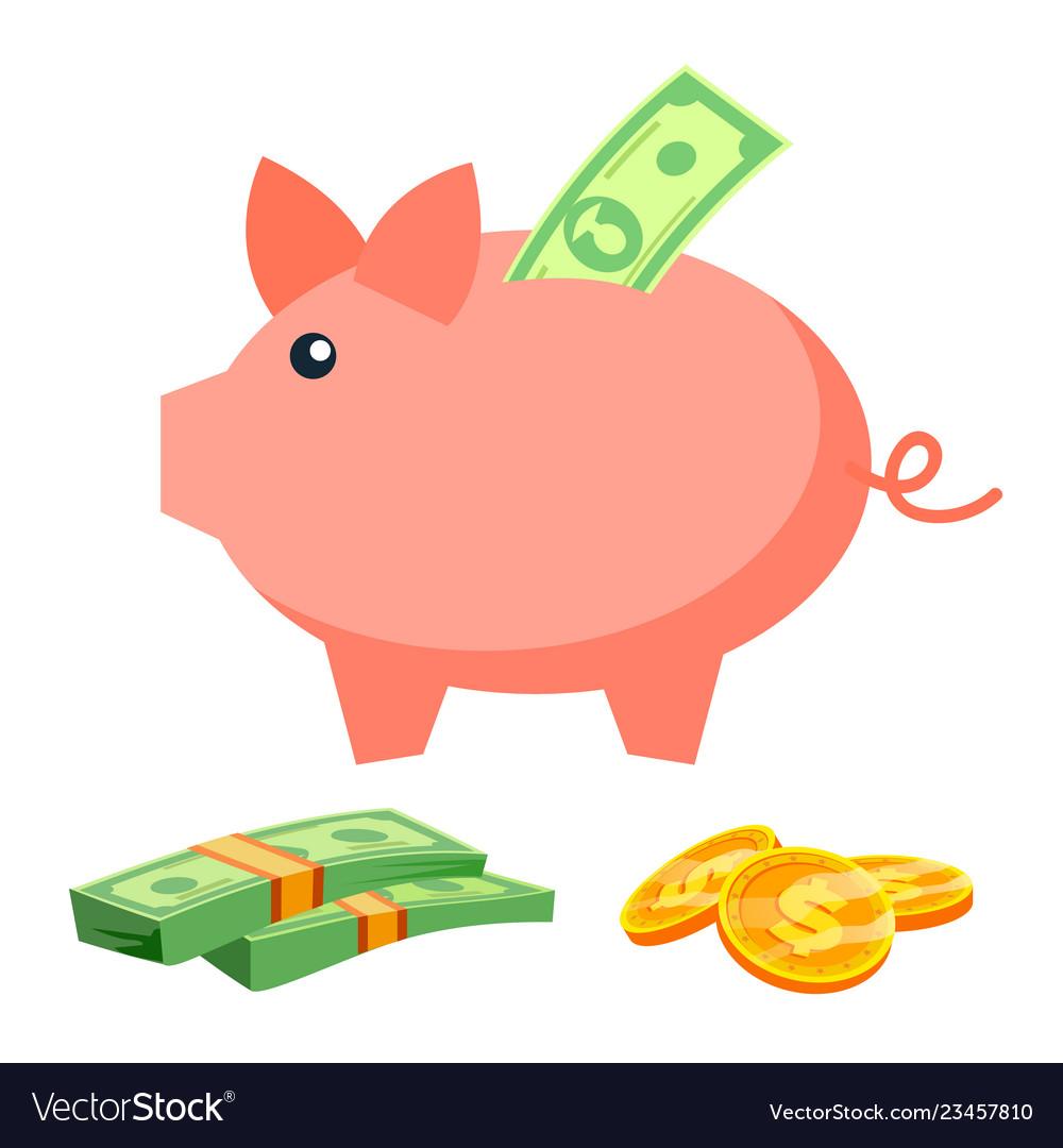 Piggy bank coins bills deposit icon