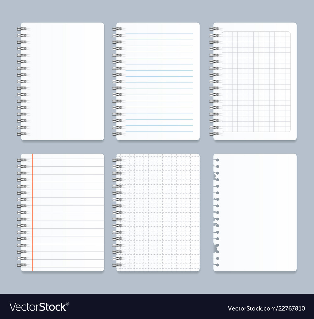 Realistic 3d detailed notebook lined spiral set