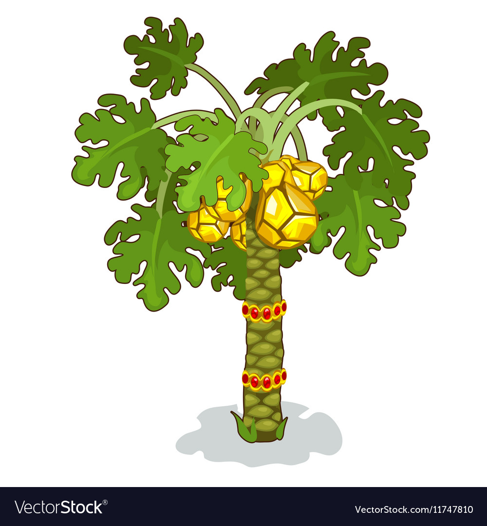 Stylized palm tree with rubies golden pineapples