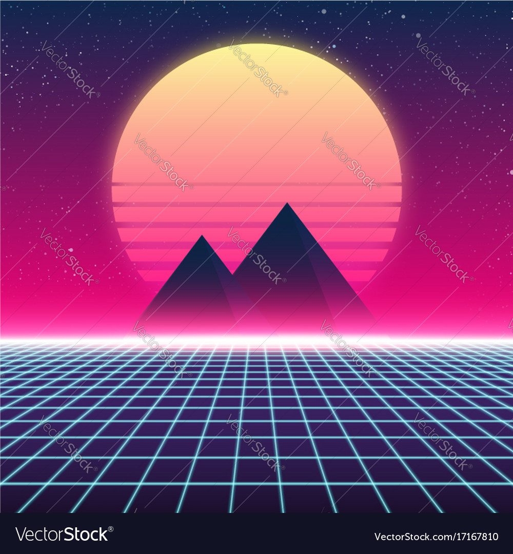 synthwave retro design pyramids and sun royalty free vector. Black Bedroom Furniture Sets. Home Design Ideas