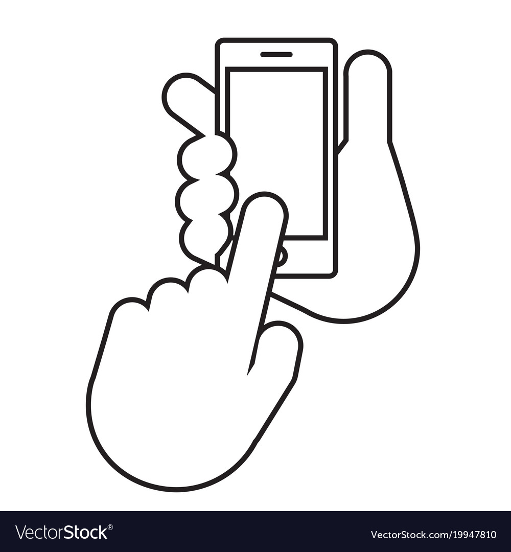 Two Hands The Hand Holds The Smartphone Royalty Free Vector