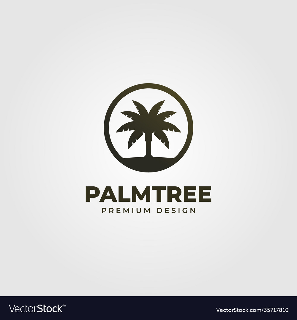 Vintage palm tree or coconut logo symbol design