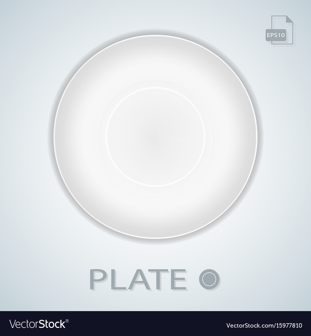 White simple plate isolated on a background vector image