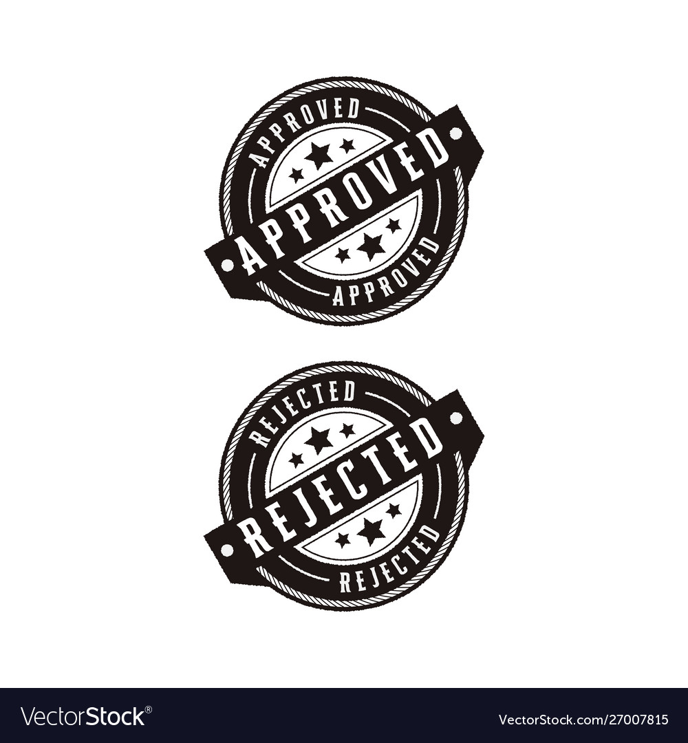 Approved and rejected set stamp label logo