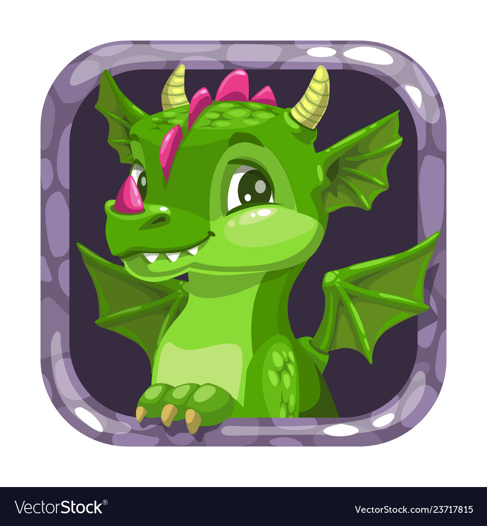 Cartoon app icon with funny green young dragon