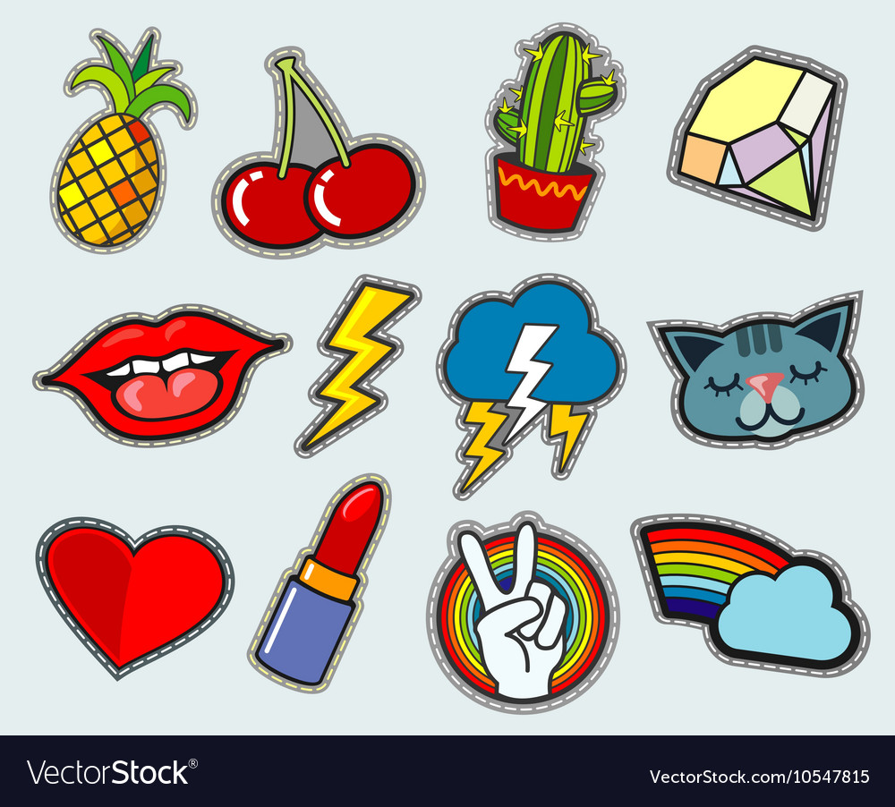 Cartoon patch badges stock