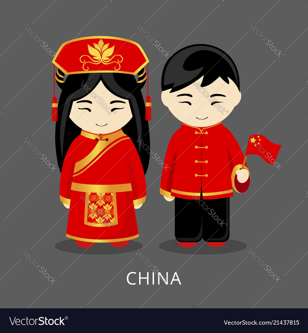 aedc684a3 Chinese in national dress with a flag Royalty Free Vector