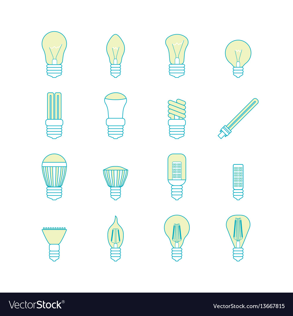 Different lamp or light bulbs line icons set