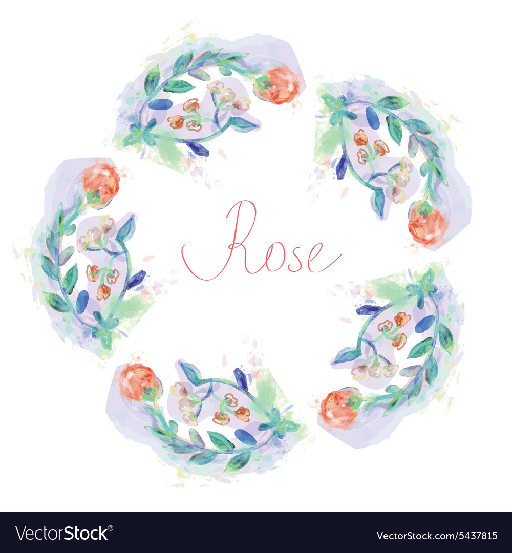 Floral circle frame with roses - watercolor style vector image