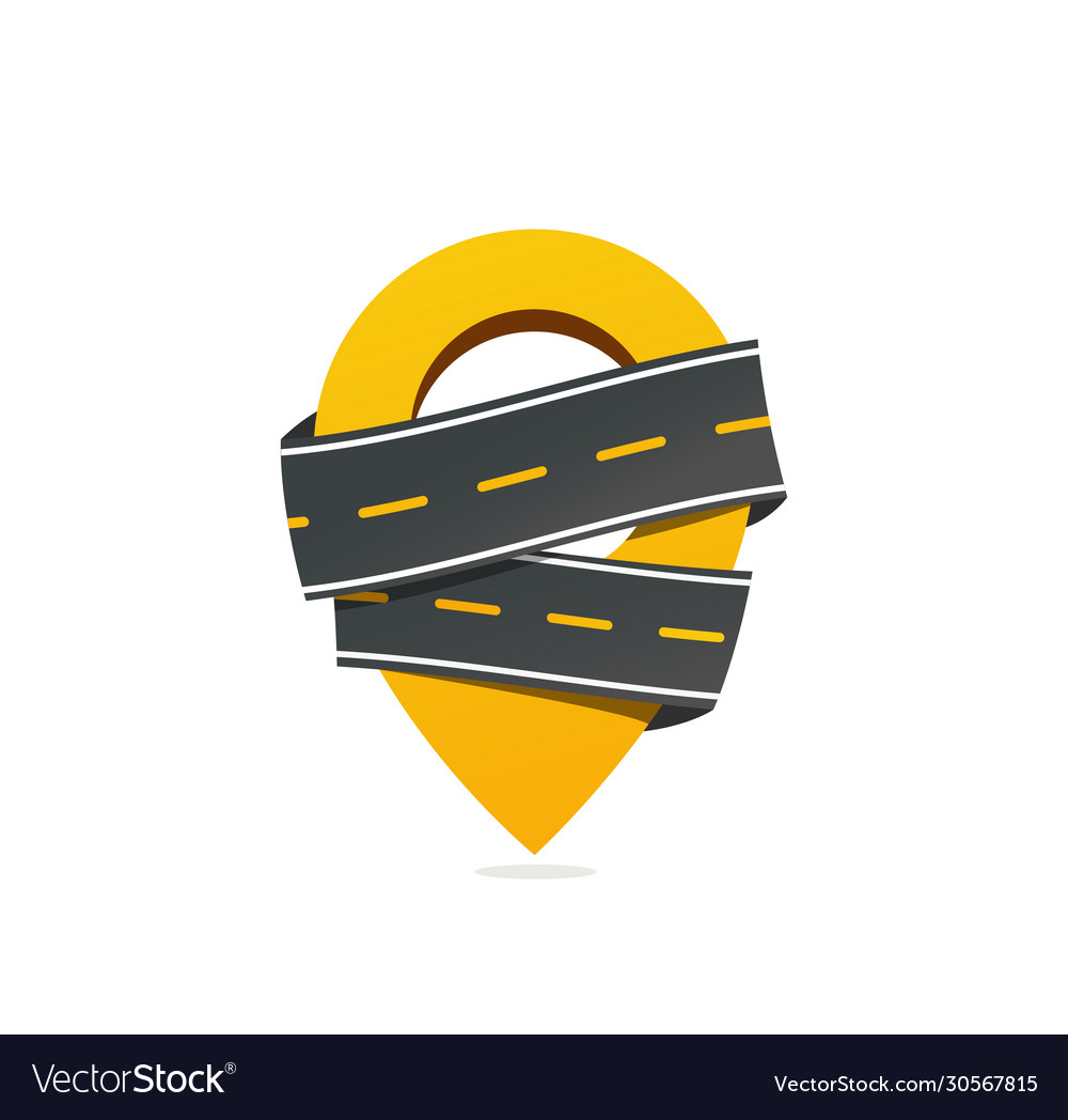 Geotag sign with asphalt road icon get