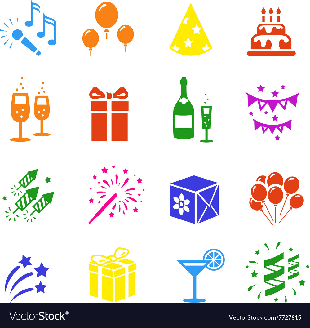Icons set Holidays Party Birthday colored
