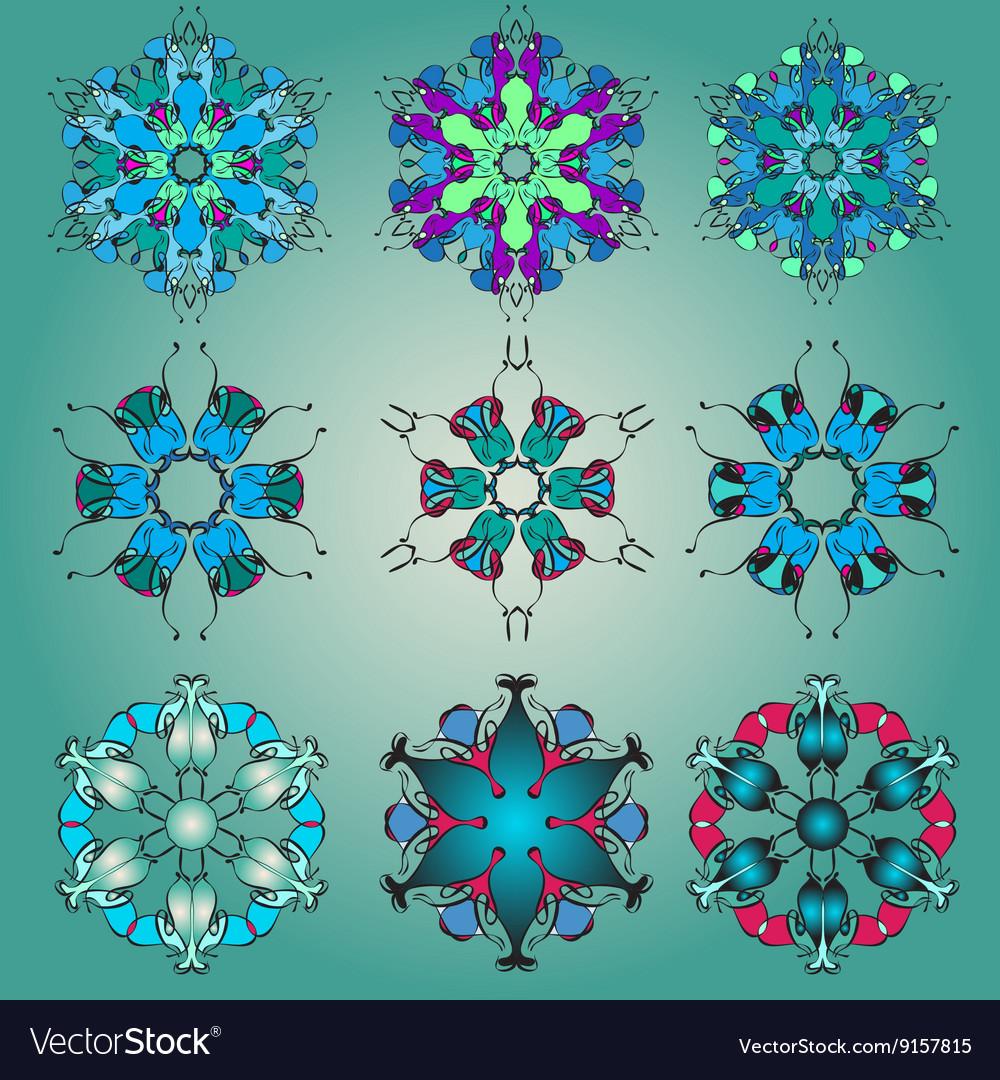 Ornamental Mandala set Round pattern