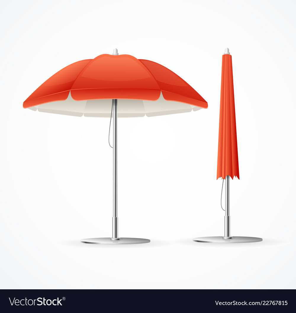 Realistic 3d detailed red summer cafee umbrella