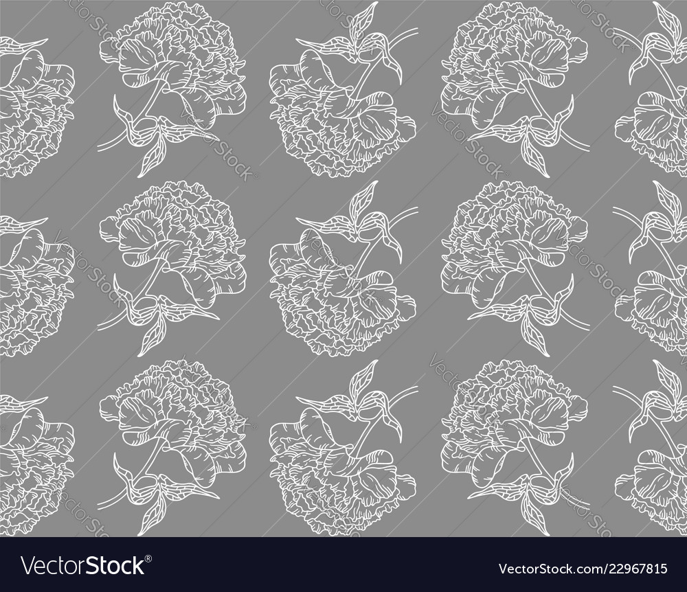 Seamless pattern with peonies on gray background