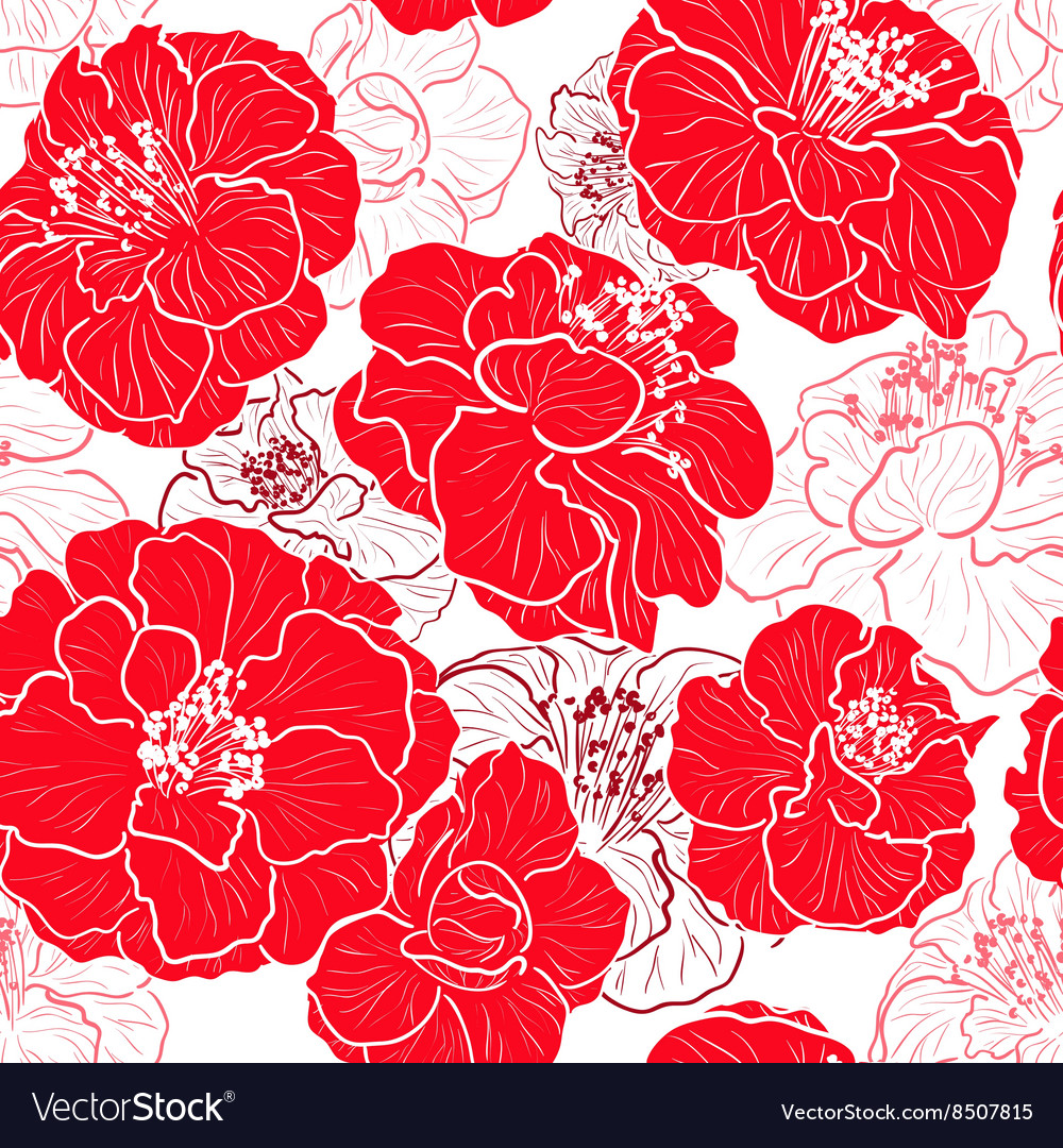 Seamless Red Floral Patterned Wallpaper