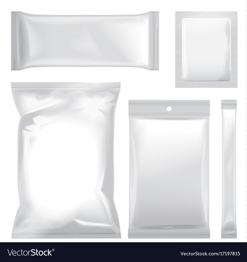 Set of white blank foil bag packaging for food