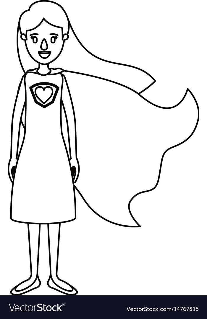 Silhouette cartoon full body super hero woman with