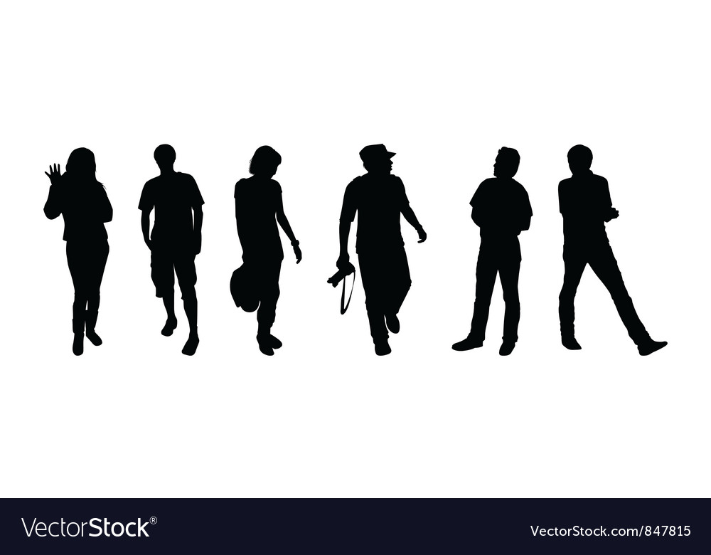 Silhouettes of tourists vector image