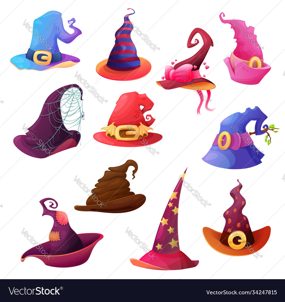 Witch and wizard hat cartoon icons halloween