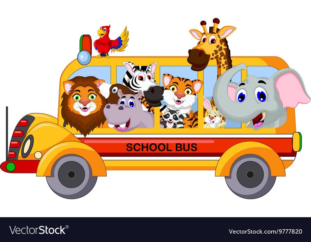Animal Cartoon On A School Bus Royalty Free Vector Image