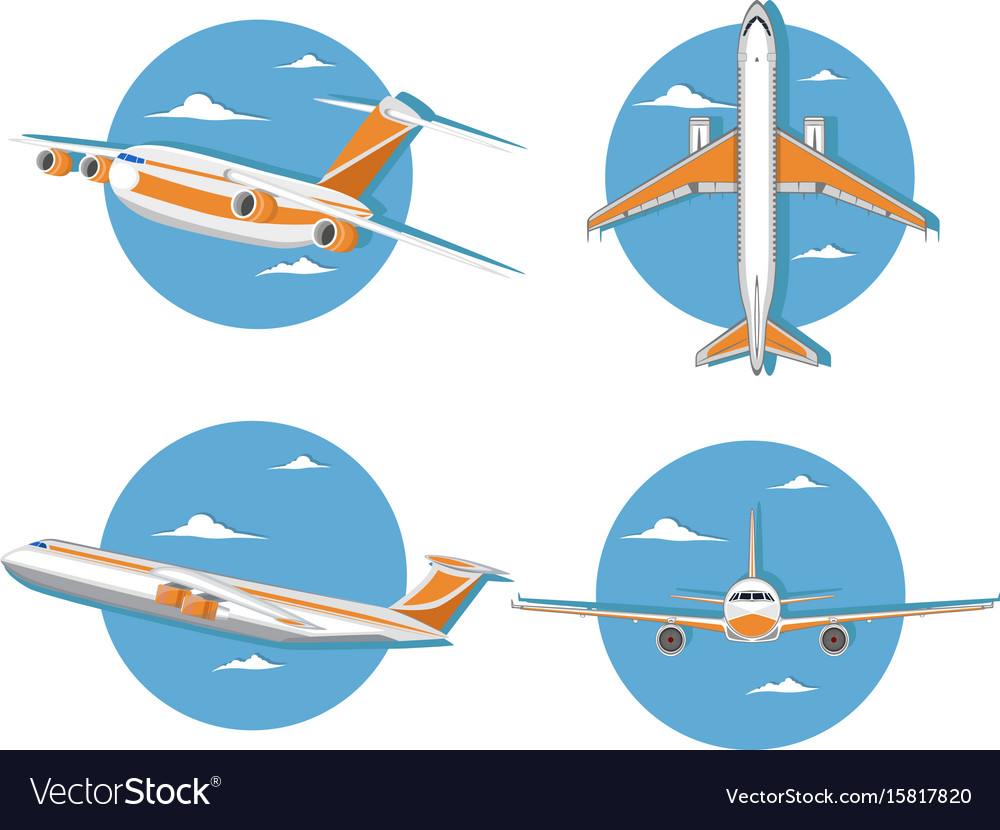 Aviation icon set with jet airplane in sky