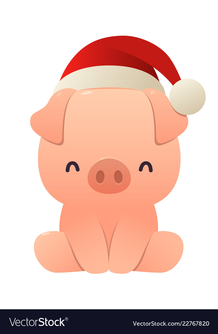Cute little pig with christmas santa red cap