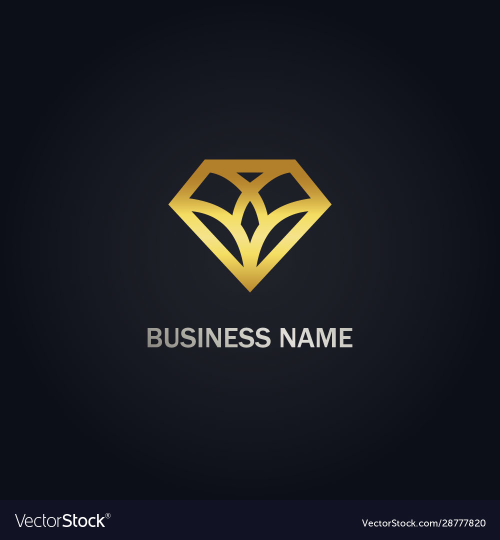 Diamond geometry shape line gold logo
