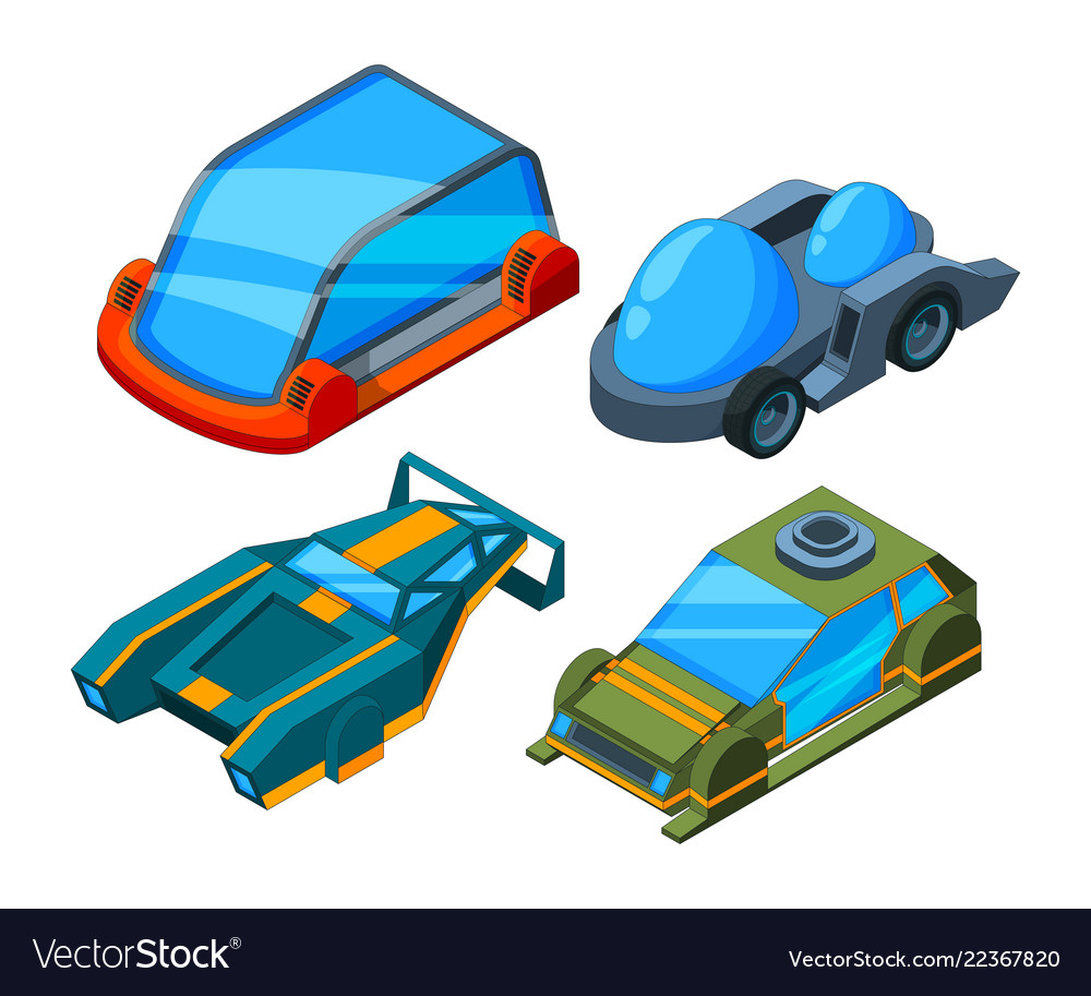 Futuristic isometric cars 3d low poly