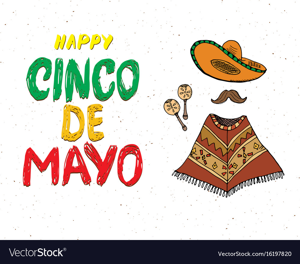 Happy cinco de mayo greeting card hand lettering vector image m4hsunfo