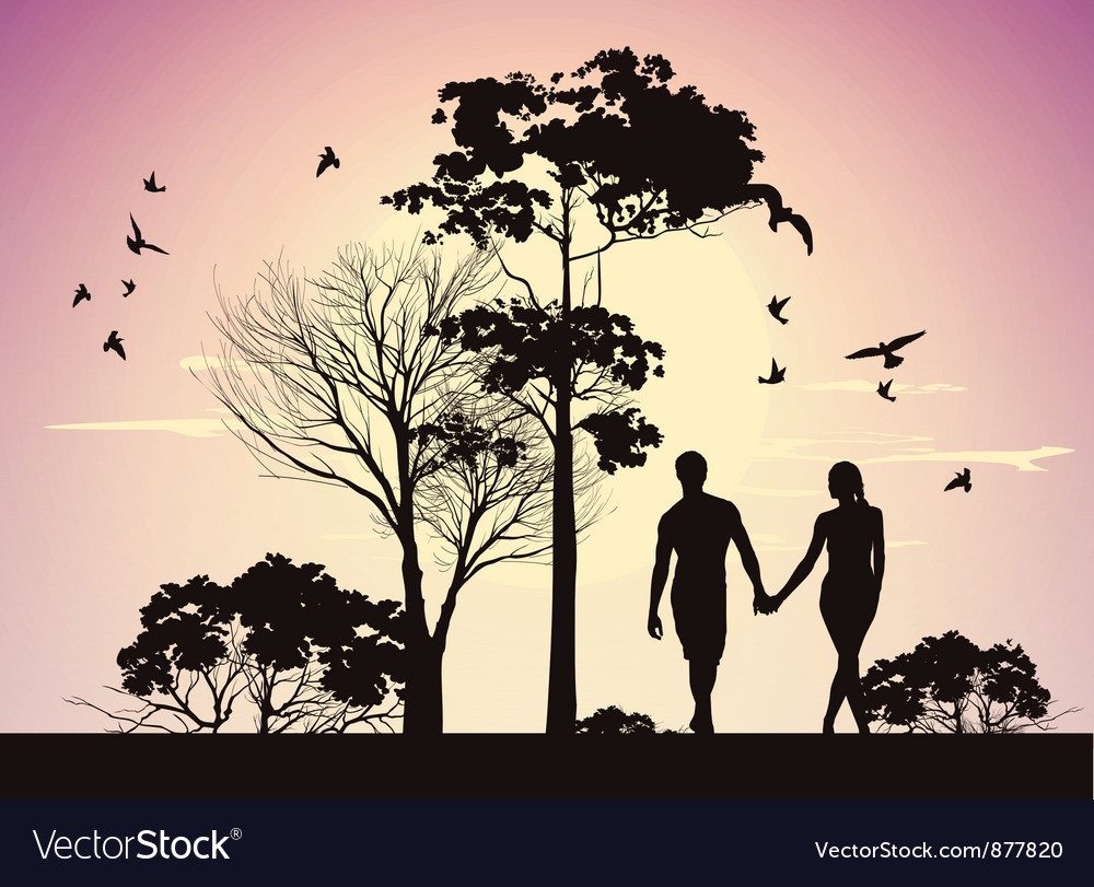 Husband and wife holding hands and walking in the vector image