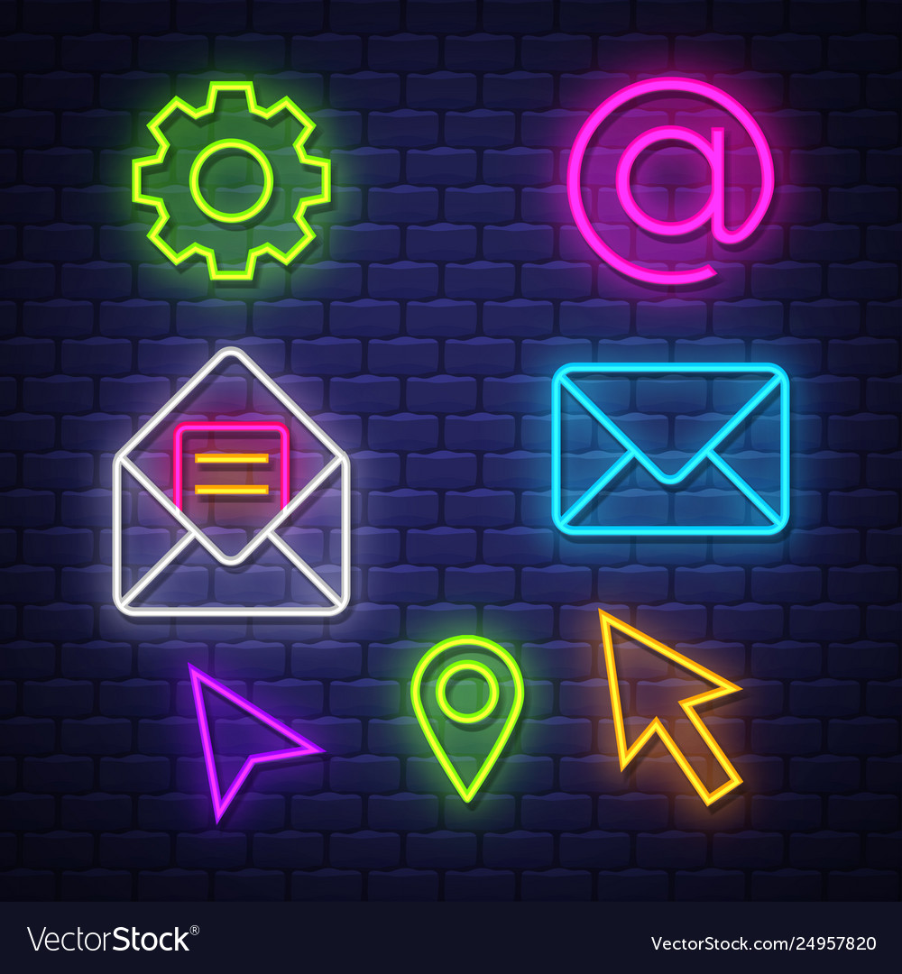 Internet communication neon signs collection