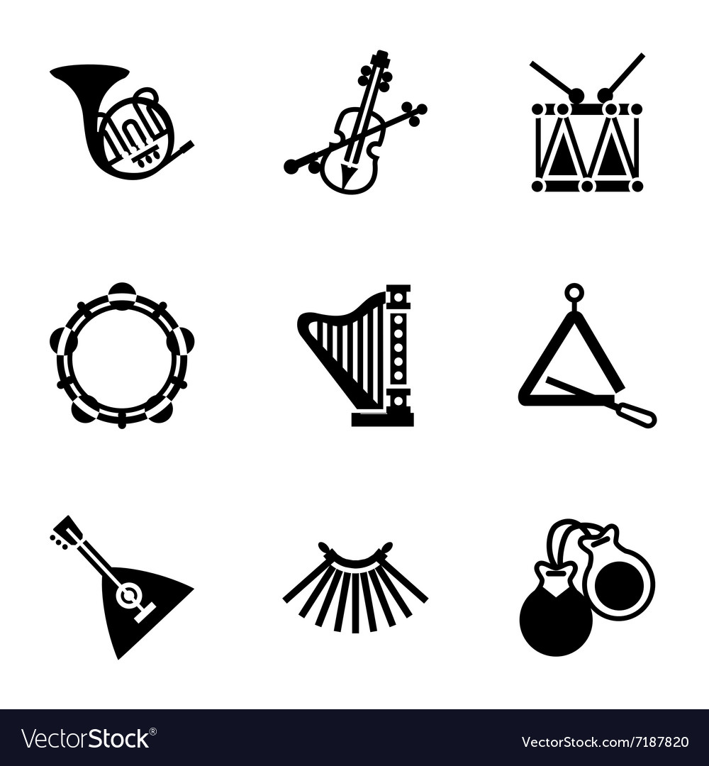 Music instruments icon set