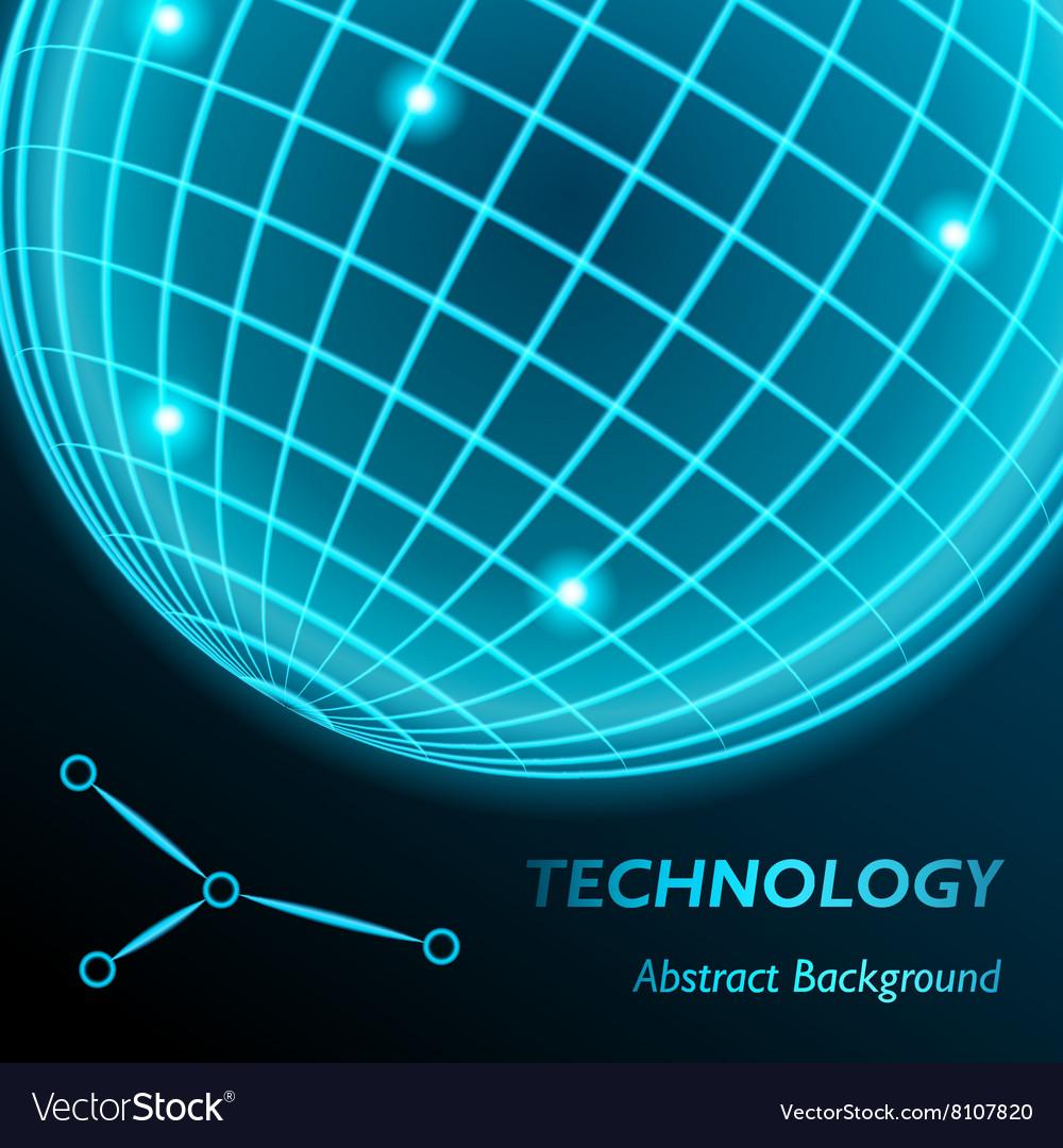 Neon grid globe background Sphere with modern