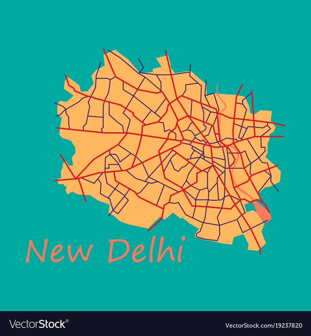 New delhi map flat style design