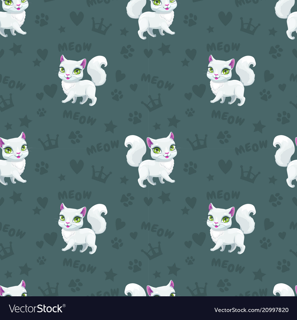 Seamless Pattern With Pretty White Cats Royalty Free Vector