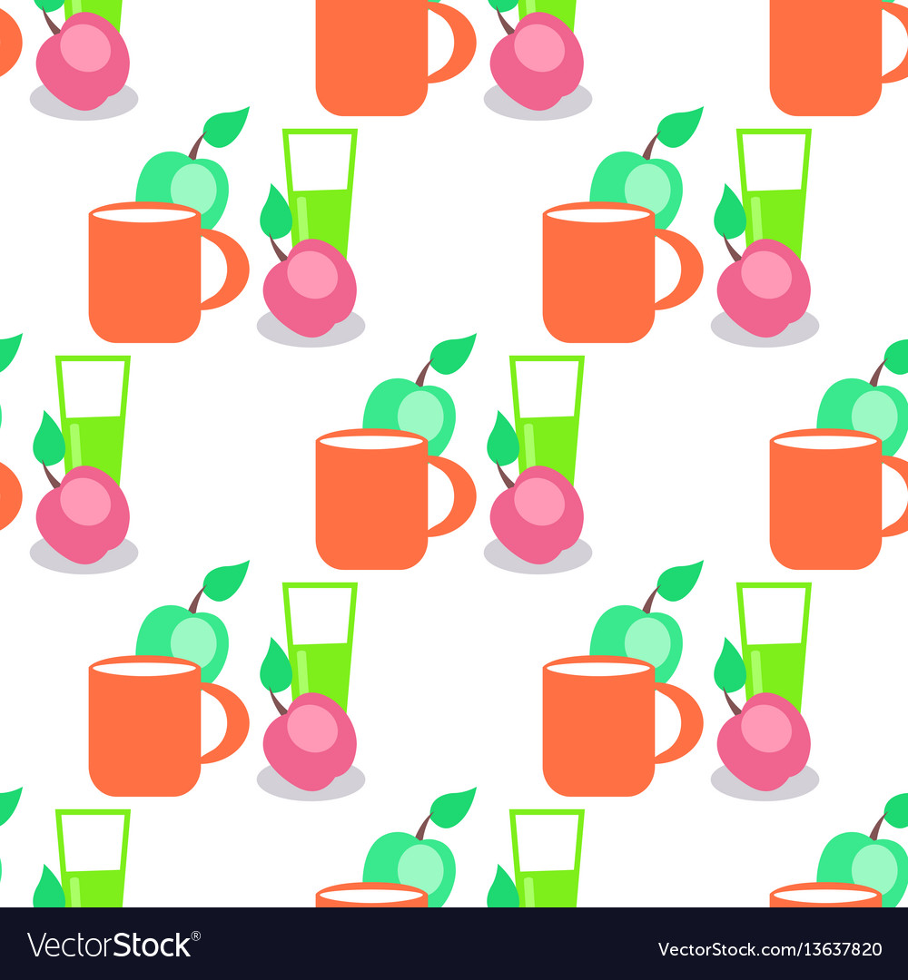 Seamless pattern with red mug glass and apples