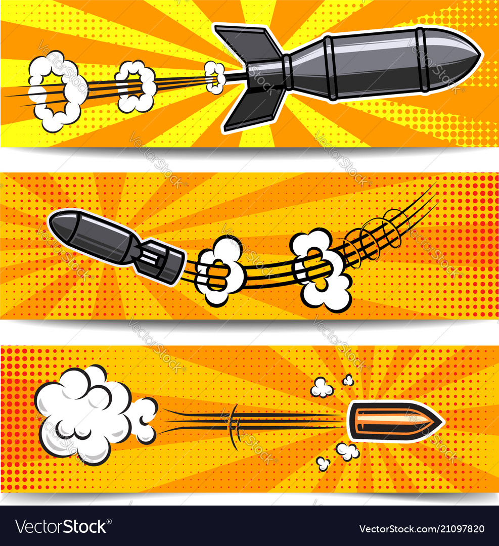 Set of banner templates with comic style bomb